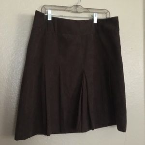 H&M Faux Suede Pleated Brown Skirt